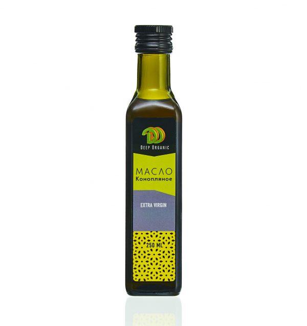 Конопляное масло в стеклянной бутылке