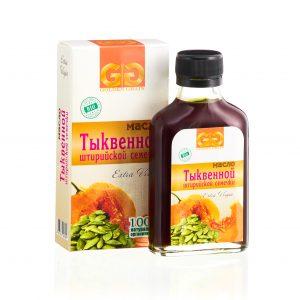 Тыквенное масло в бутылочке с упаковкой